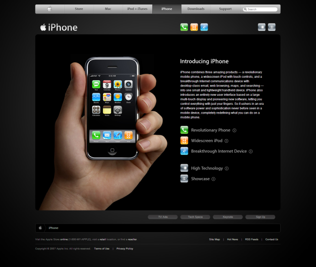 Apple's iPhone page